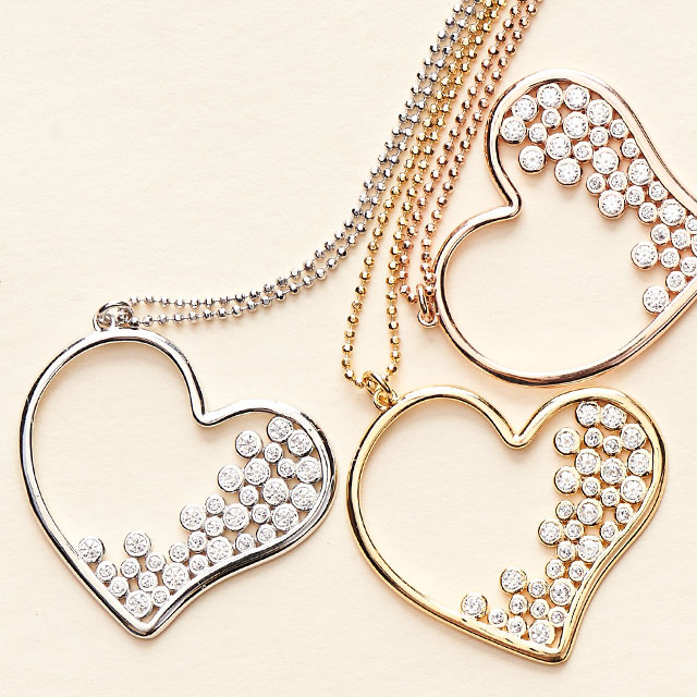 """Diamonique Heart Pendant with 30"""" Chain, Sterl or 18K Plated"""