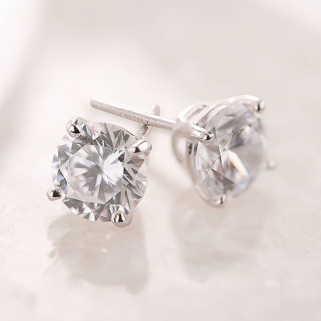 Diamonique ClickSecure 2.00 cttw Stud Earrings, Sterling