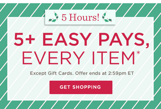 5+ Easy Pays, Every Item*