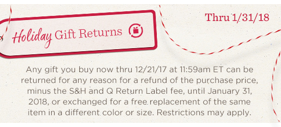 Holiday Gift Returns Thru 1/31/18