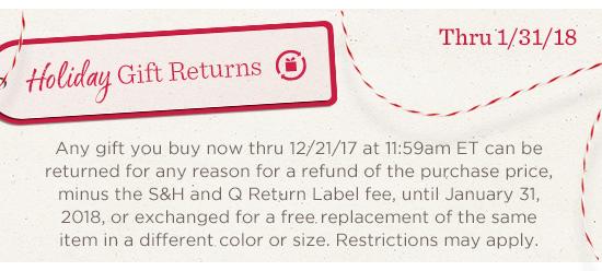 Holiday Gift Returns Thru 1/31/18