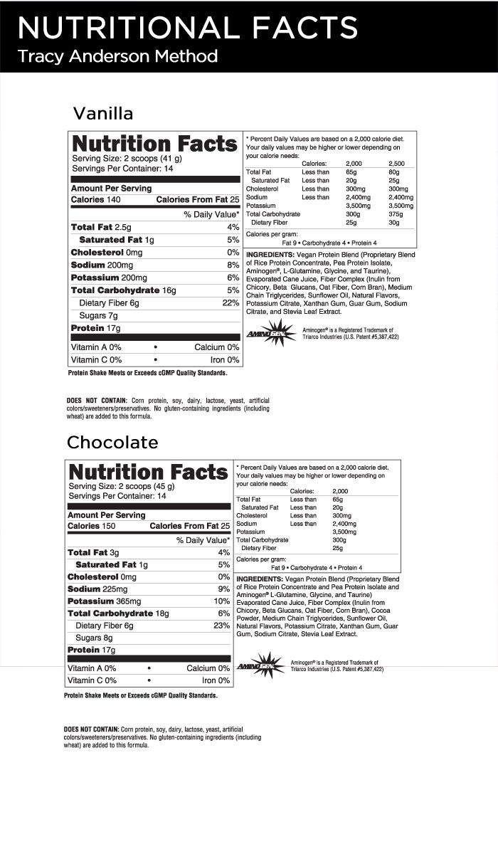 Tracy Anderson Performance Formula Wellness Shakes Nutritional Facts