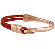 Bronzo Italia Double Leather Slide Clasp Bangle Bracelet - S8303