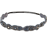Ideas 108 Thick Grey Handbeaded Headband - S8703