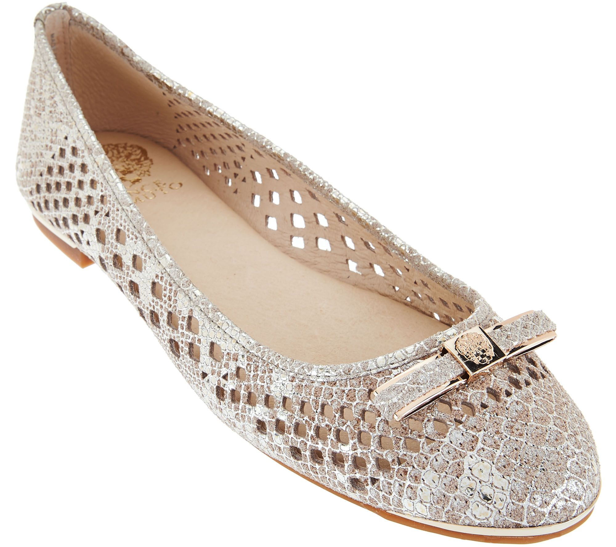 Vince Camuto Perforated Leather Flats Celindan Qvc Com