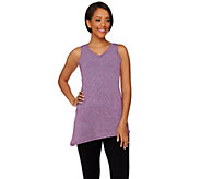 LOGO Lotus by Lori Goldstein V-neck Spacedye Knit Tank - S8316