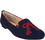 Adrienne Vittadini Suede Embroidered Flats- Doloris - S8331