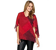 H by Halston V-Neck Printed Cape Top - S8734