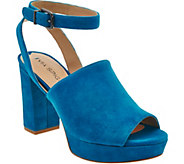 Via Spiga Peep Toe Suede Platform Sandals - Julee - S8539