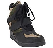 Wild Diva Lounge Sparkle-15 Camouflage Wedge Sneakers - S7653