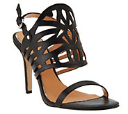 Badgley Mischka Leather Cut-Out Slingback High Heel Sandals-Murray - S8561