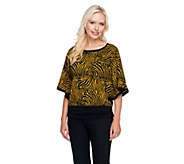 Susan Graver Printed Sweater Knit Dolman Sleeve Scarf Top - S8265