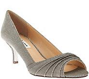 Nina Shimmer Mid-Heel Peep Toe Pumps- Carolyn - S8570