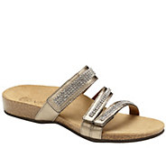 Vionic Orthotic Leather Rhinestone Slides- Afton - S8275