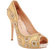 De Blossom Collection Rhinestone Platform Peep- Toe Pumps - S8283