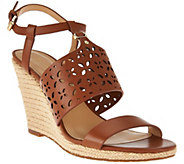 MICHAEL Michael Kors Darci Leather Wedge Sandals - S8289
