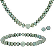 Honora Sterling Silver Freshwater Pearl Sea Green Set - S8796