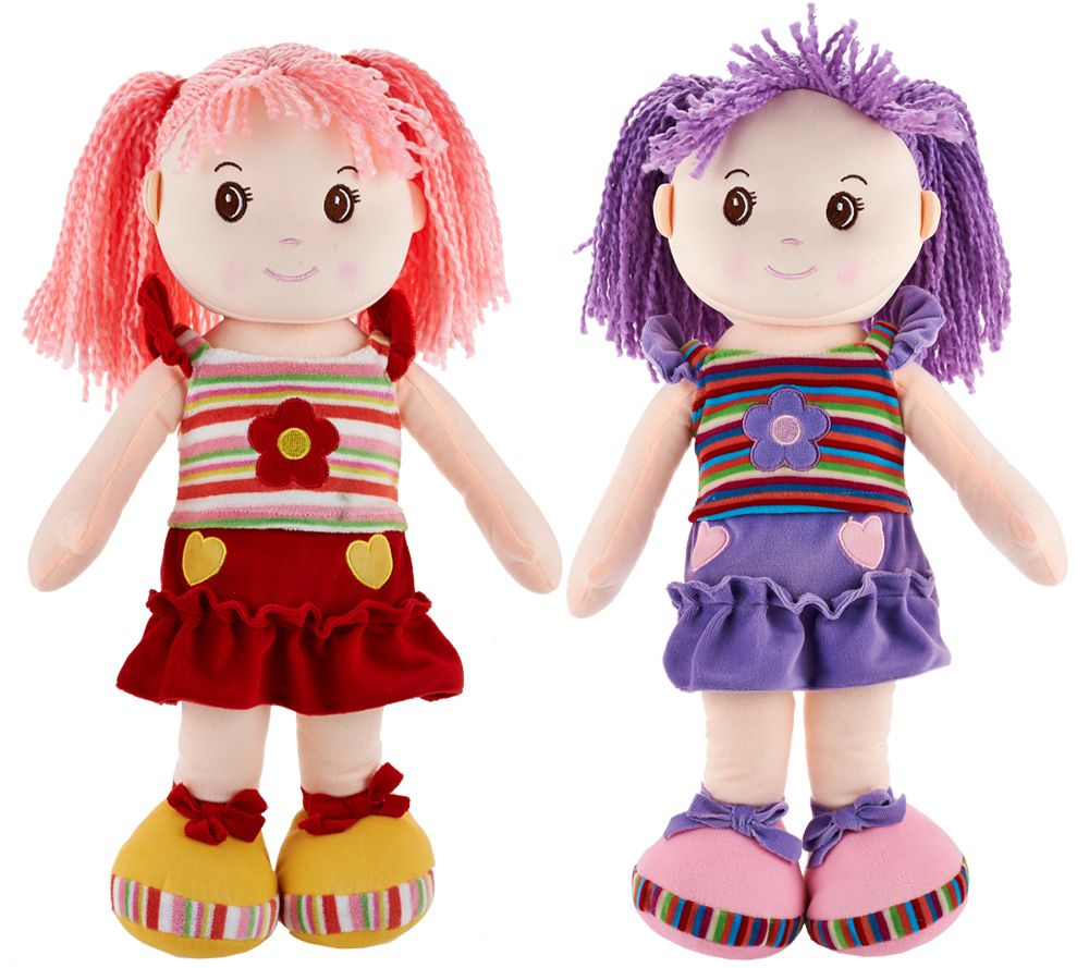 "Set of Two Lollipop Kids 20"" Soft Bodied Rag Dolls"