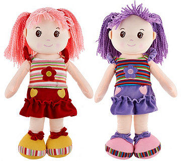 "Set of Two Lollipop Kids 20"" Soft Bodied Rag Dolls - T33316"