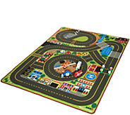 Melissa & Doug Jumbo Roadway Activity Rug with Emergency Vehicle Bundle - T35033