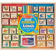 Melissa & Doug Deluxe Wooden Stamp Set - Animals - T128041
