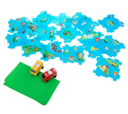Puzzle Trax 20-pc. Playset with 2 LED Vehicles & Storage Bag
