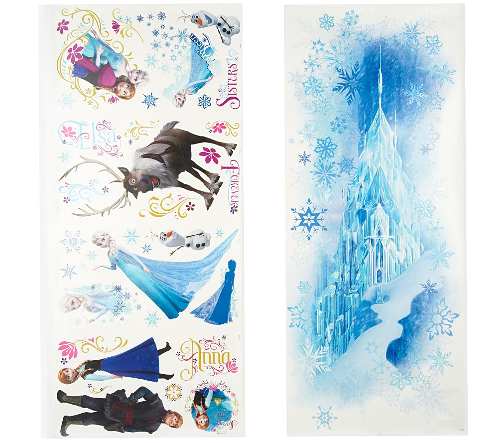 Disneyu0027s Frozen Reusable Peel U0026 Stick Wall Decal Combo Set   Page 1 U2014  QVC.com