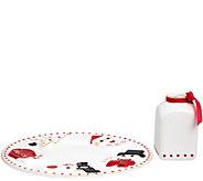 FAO Schwarz 2pc Ceramic Santa Milk & Cookie Plate & Jug Set - T35360