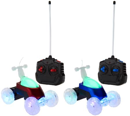 Set of 2 Turbo Twisters RC Deluxe Light-Up Stunt Vehicles