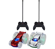 Set of 2 Turbo Flip RC Light-Up Vehicles - T34477