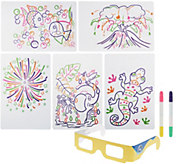 Glow Pad Activity Set w/ Markers, Illustrations & 3D Glasses - T34182