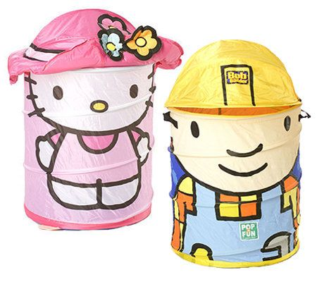 bob the builder or hello kitty pop up storage hamper. Black Bedroom Furniture Sets. Home Design Ideas