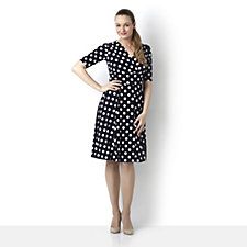 Ronni Nicole 'O So Slim' Polka Dot Print Dress with Elbow Sleeves