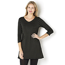 Yong Kim 3/4 Sleeve V Neck Stripe Tunic