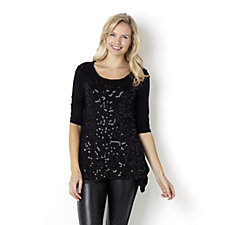 Antthony Designs 3/4 Sleeve Handkerchief Hem Embellished Sequin Tunic