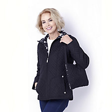 Centigrade Quilted Packaway Coat with Print Lining & Pouch