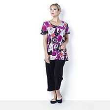Casual & Co Print Jersey Top & Plain Crop Trouser Set