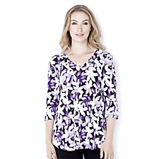 Kim & Co Ombre Floral Leaf Swing 3/4 Sleeve Tunic