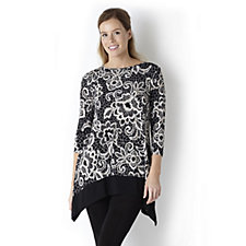 3/4 Sleeve Shaped Hem Print Tunic by Nina Leonard