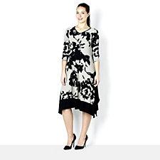 Yong Kim Stretch Jersey V Neck Contrast Hem Dress