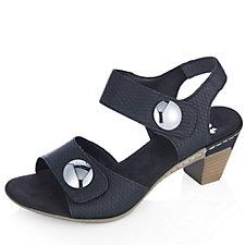 Rieker Button Detail Heeled Leather Sandal