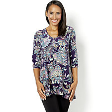 Kim & Co Brushed Venechia 3/4 Sleeve Printed V Neck Tunic