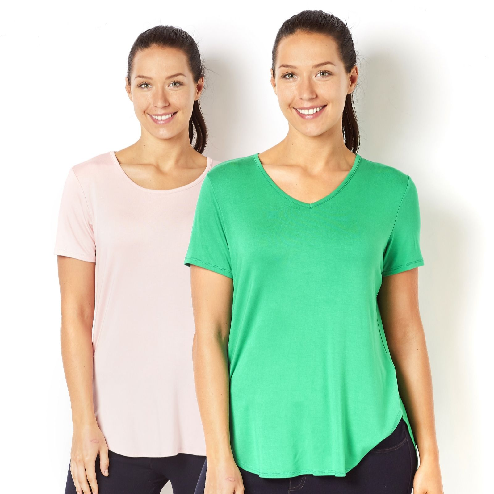 Shirt design with palazzo - Antthony Designs 2 Pack Of Short Sleeve Dipped Hem Tops 160100