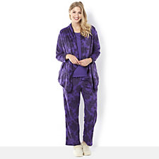 Carole Hochman Lace Print Micro Fleece Jersey 3pc PJ Set