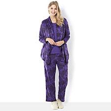 Carole Hochman Lace Print Micro Fleece Jersey 3pc PJ Set
