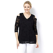 Cold Shoulder Lace Tunic & Cami Set by Michele Hope