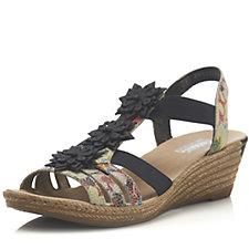 Rieker Floral Detail Wedge Sandal