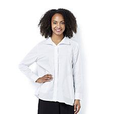 MarlaWynne Stretch Poplin Popped Collar Butterfly Shirt