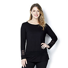 Mr Max Aruba Knit Long Sleeve Top with Lace Insert Detail