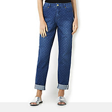 Isaac Mizrahi Live True Denim Polka Dot Print Regular Trousers